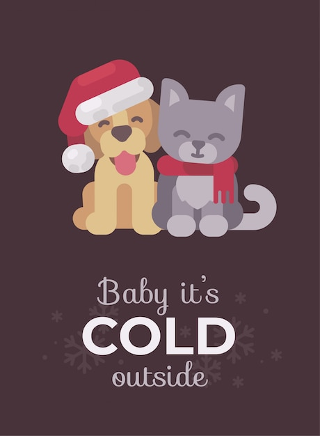 Cute puppy and kitten christmas greeting card. Premium Vector