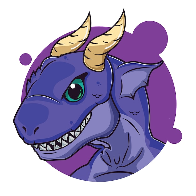 Cute purple dragon avatar Vector | Premium Download