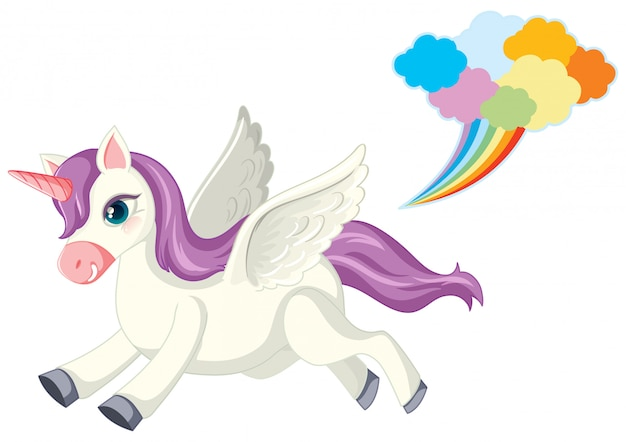 Cute purple unicorn in running position on white background Free Vector