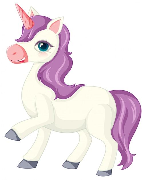 Unicorno viola sveglio nella posizione diritta su fondo bianco Vettore gratuito