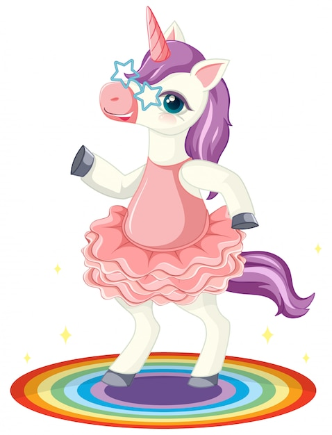 Cute purple unicorn wearing star glasses in standing on rianbow position on white background Free Vector