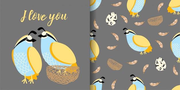 Cute quail hand drawn animal seamless pattern with illustration card set Premium Vector