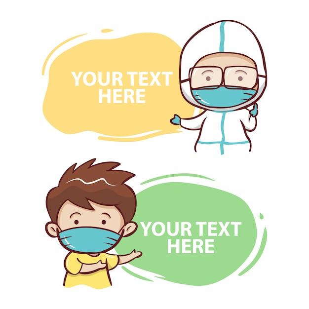 かわいい検疫看護師と患者の漫画 Premiumベクター