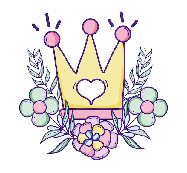 Cute queen crown with flowers and leaves Premium Vector