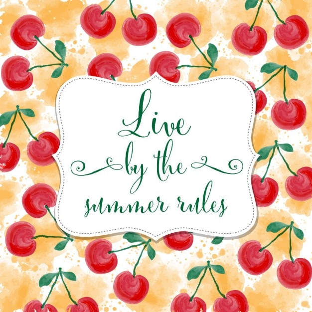 Cute Quote On A Cherries Background Free Vector
