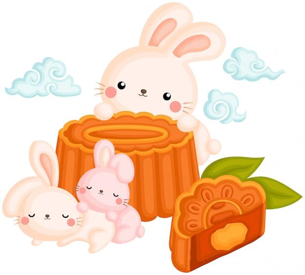 Милый кролик и лунный пирог Premium векторы