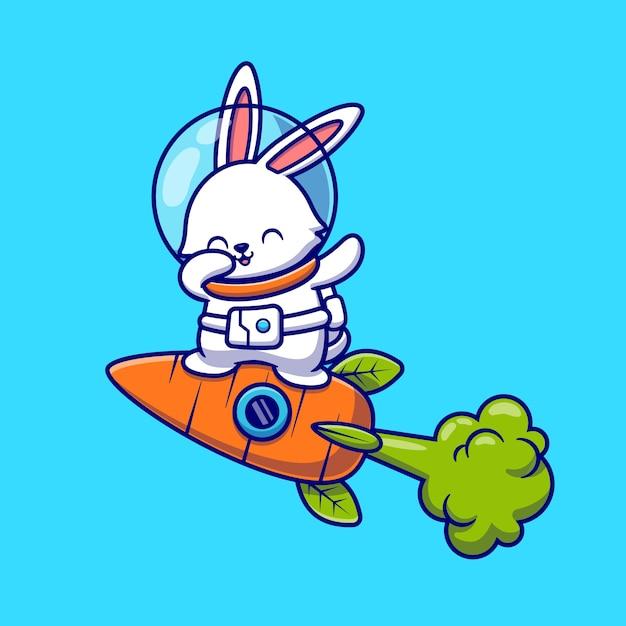 Милый кролик астронавт вытирается и летит с морковной ракетой мультфильм значок иллюстрации. концепция значок технологии животных изолированы. плоский мультяшном стиле Бесплатные векторы