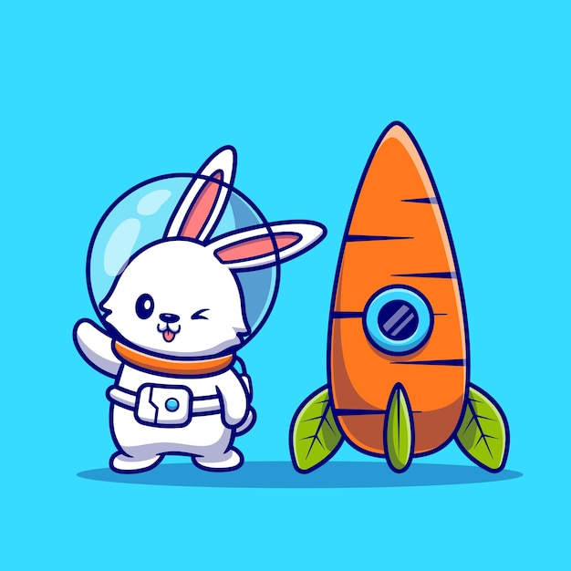 Cute rabbit astronaut with carrot rocket cartoon   icon illustration. animal technology icon concept isolated    . flat cartoon style Free Vector