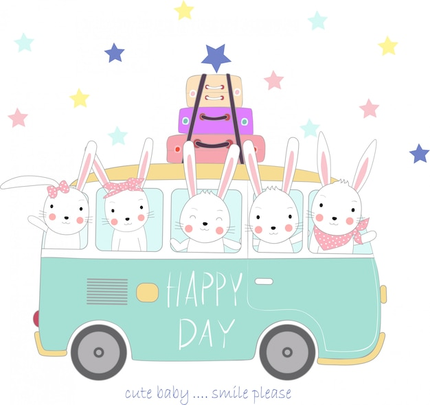 The cute rabbit baby to travel on holiday Premium Vector