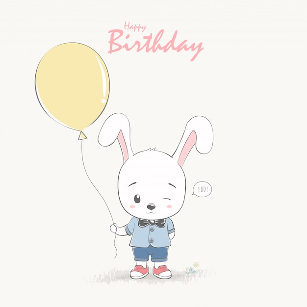 Cute Rabbit Boy Cartoon Happy Birthday Greeting And Invitation Card Premium Vector