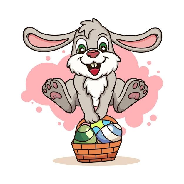 Милый кролик приносит яйца. мультфильм значок иллюстрации. концепция животных значок, изолированные на белом фоне Premium векторы