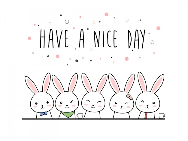 Cute rabbit bunny cartoon doodle pastel Premium Vector
