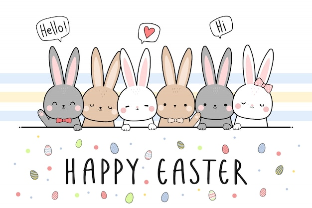 Cute rabbit bunny happy easter cartoon doodle wallpaper Premium Vector