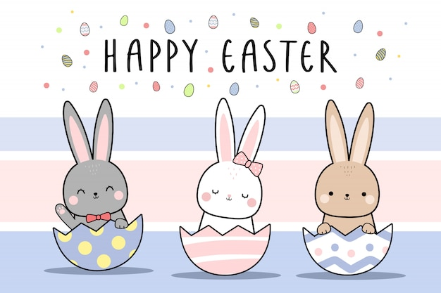 Cute rabbit bunny happy easter cartoon doodle wallpaper | Premium ...