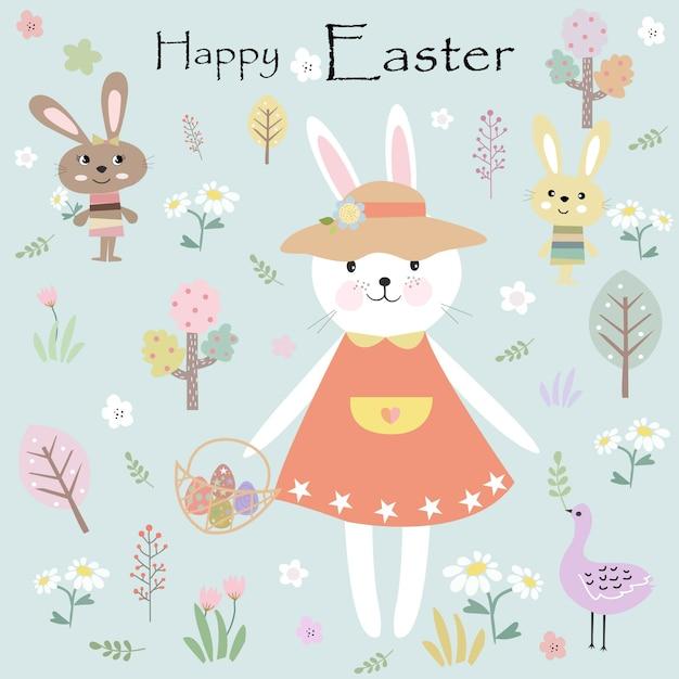 イースターの日漫画に幸せかわいいウサギのウサギ。 Premiumベクター