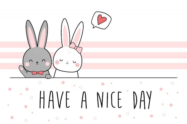 Cute rabbit bunny lover couple greeting cartoon doodle wallpaper Premium Vector