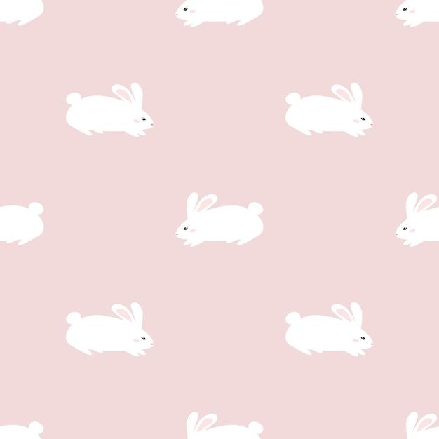 Cute Rabbit Bunny Seamless Pattern Wallpaper Premium Vector