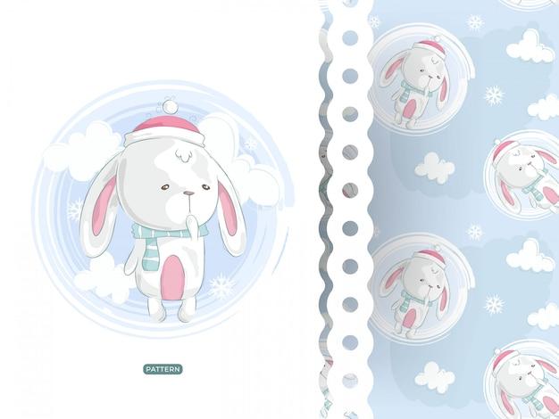 Симпатичная кроличья открытка с рисунком Premium векторы