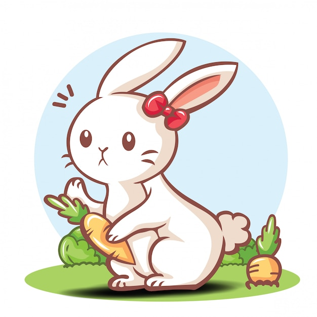 Cute rabbit cartoon character . | Premium Vector