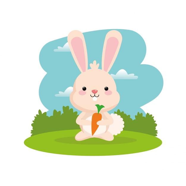 Cute Rabbit Cartoon With Carrot Icon Vector