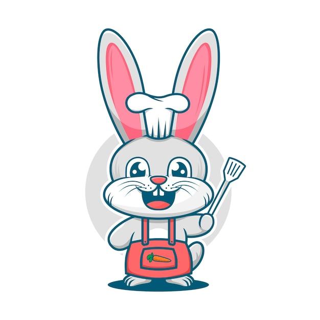 へら漫画のマスコットのロゴのテンプレートとかわいいウサギのシェフ Premiumベクター