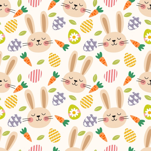 Cute rabbit and easter eggs seamless pattern. Premium Vector