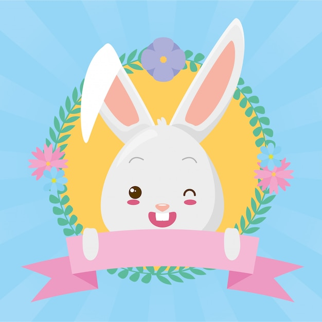 Cute rabbit face cartoon with ribbon Free Vector