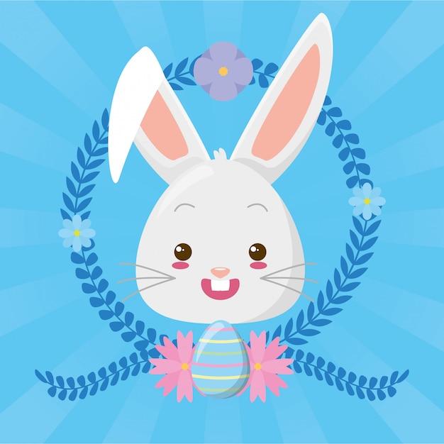 Cute rabbit face cartoon Free Vector