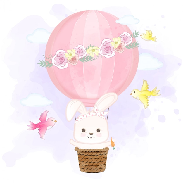 Cute rabbit floating on hot air balloon and birds hand drawn cartoon illustration Premium Vector