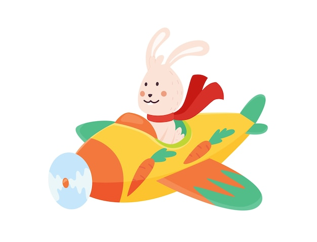 Cute rabbit flying an airplane with scarf fluttering. funny pilot flying on planes. cartoon  isolated on a white background. Premium Vector