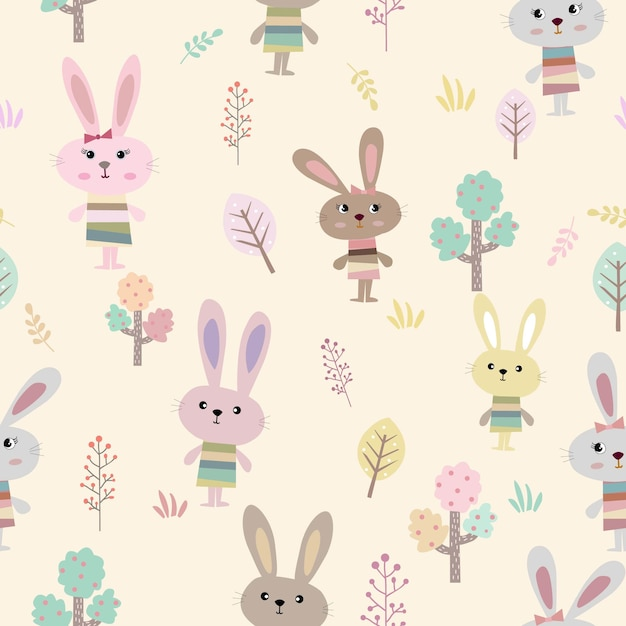 Cute rabbit in the garden cartoon seamless pattern. Premium Vector