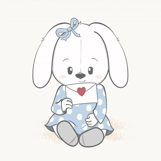 Cute rabbit girl with love letter cartoon hand drawn Premium Vector