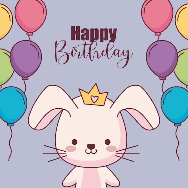 cute rabbit happy birthday card with balloons helium
