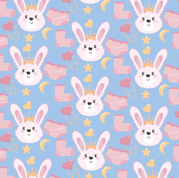 Cute rabbit head with sock and diaper pattern Free Vector