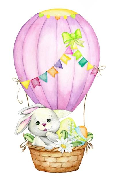 熱気球で、イースターの卵と花でかわいいウサギ。イースター休暇のための水彩画のコンセプト。 Premiumベクター