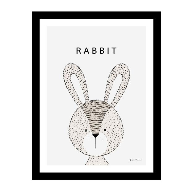 Cute rabbit inside a black frame Free Vector
