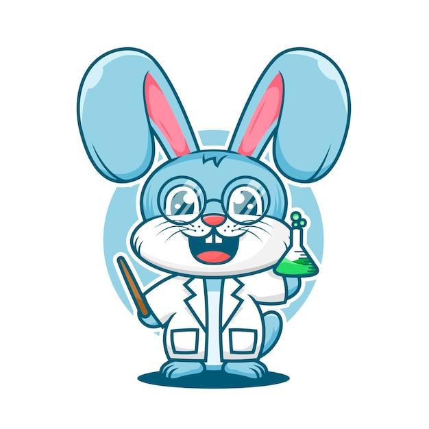 かわいいウサギの教授の漫画のマスコットのロゴのテンプレート Premiumベクター