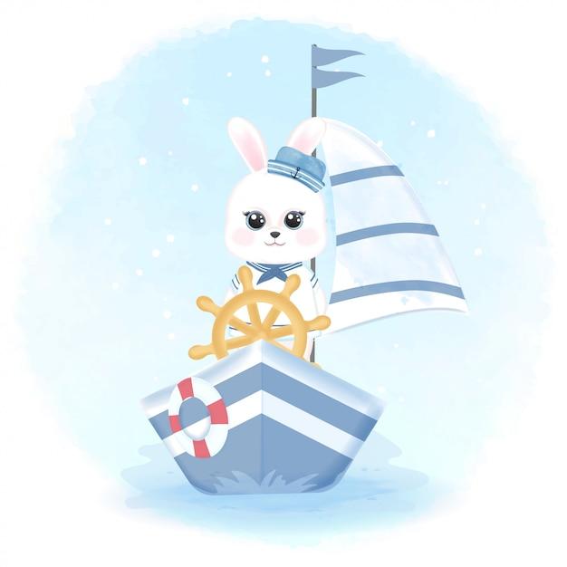 かわいいウサギセーラー運転船手描き水彩イラスト Premiumベクター