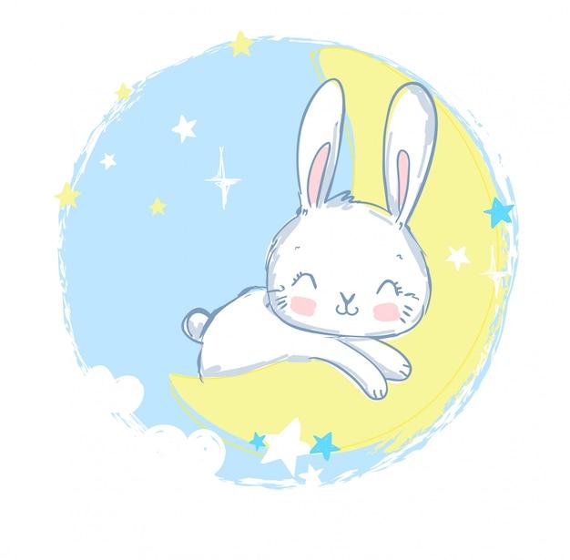 Cute rabbit sleeping on the moon. Premium Vector