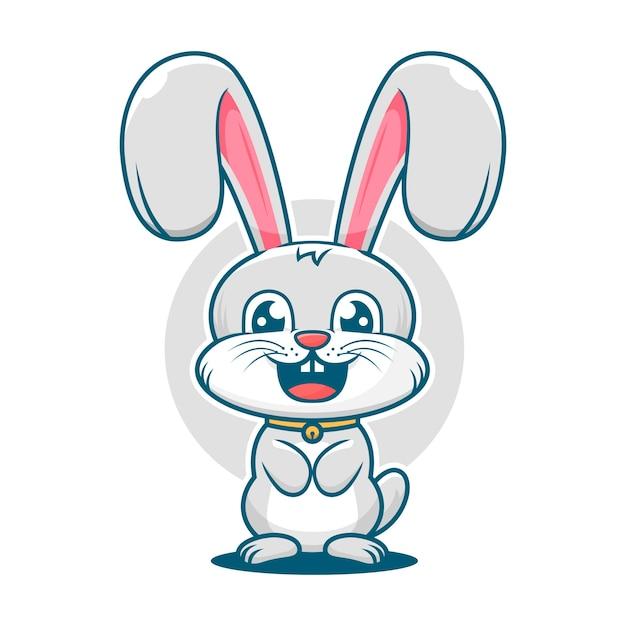 かわいいウサギの笑顔漫画マスコットロゴテンプレート Premiumベクター
