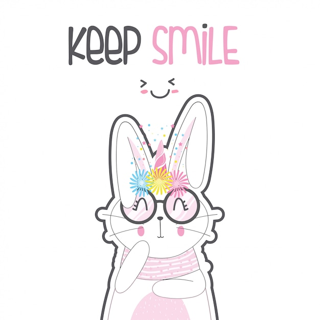 Cute rabbit unicorn with glasses Premium Vector