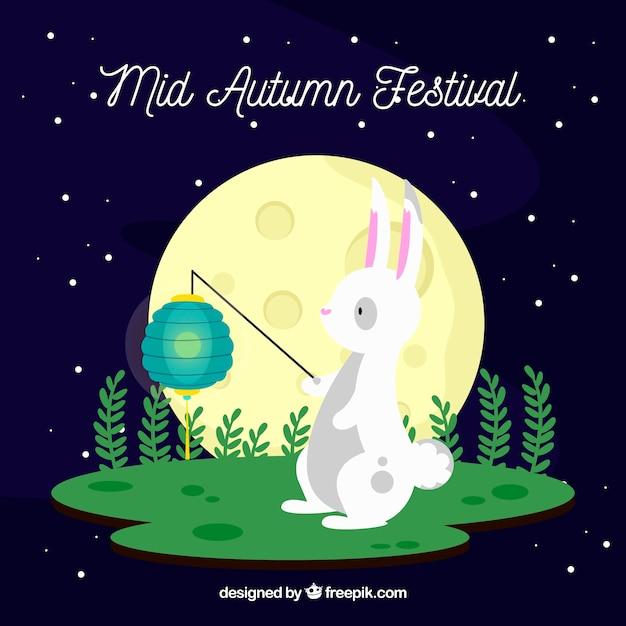 Cute rabbit with a light, mid autumn festival