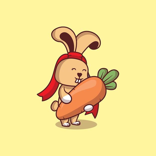 にんじん漫画イラストとかわいいウサギ Premiumベクター