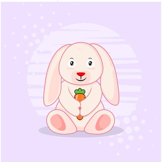 にんじんアイコンイラストとかわいいウサギ。分離されたアイコンの概念。フラット漫画スタイル Premiumベクター