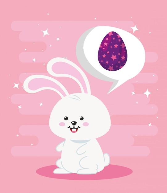 Милый кролик с яйцом в виде пасхальных звезд Premium векторы
