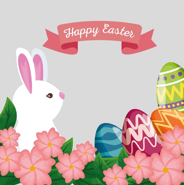 Cute rabbit with eggs decoration and ribbon Free Vector
