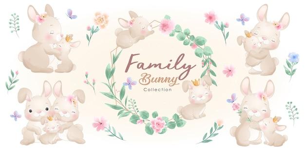 꽃 컬렉션 귀여운 토끼 프리미엄 벡터