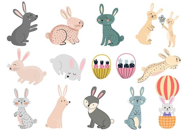 かわいいウサギのクリップアートセットイラスト Premiumベクター