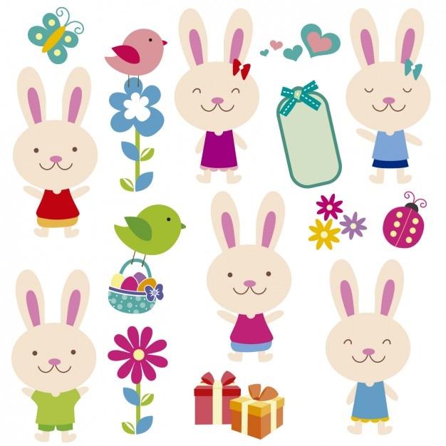 Cute rabbits field