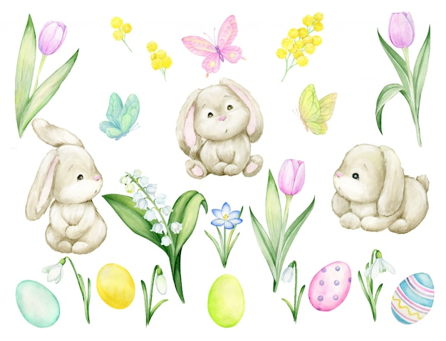 Cute rabbits, tulips, easter eggs, lilies of the valley snowdrops, crocus, butterflies. watercolor set, on an isolated background. individual elements for the easter and spring holidays. Premium Vector